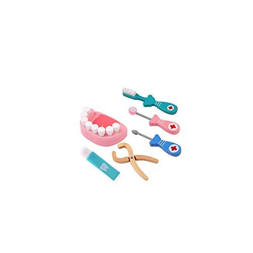 Nider Holz Zahnarzt Toy Arzt Kit Pretend Zahnarzt Werkzeuge Medizinisches Set für Kleinkinder Kostüm Doktor Rollenspiele Spielen Schule Klassenzimmer pädagogisches Spielzeug 6Pcs