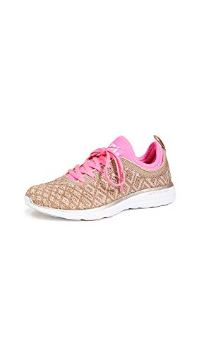 APL: Athletic Propulsion Labs Women's Techloom Phantom Sneakers, Rose Gold/Fusion Pink/White, 8.5 Medium US