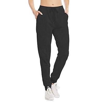 HISKYWIN Womens Athletic Yoga Lounge Pants Active Joggers Sweatpants Drawstring Cotton Sweat Pants Pockets Pants-F18017A-Charcoal-XL