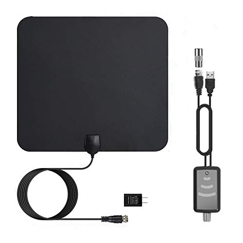 [Newest 2020] HDTV Antenna Digital Amplified HD TV Antenna 60-90 Mile Range 4K 1080P HD VHF UHF Freeview Television Local Channels w/Detachable Signal Amplifier and 13.8ft Coax Cable/USB Power Adapt
