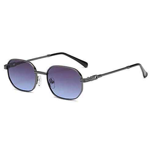 Sunglasses Gafas de Sol de Moda Gafas De Sol Cuadradas Retro para Mujer, Montura Metálica para Hombre, Gradiente Azul, G