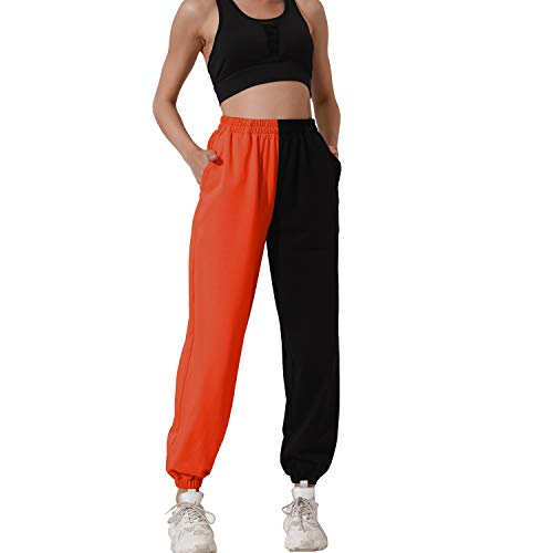HAPYWER Damen Jogginghose Farbblock Sporthose Lang Lose mit Taschen Trainingshose Baumwolle Visueller Schock Freizeithosen Laufen Yoga Tanzen S-2XL