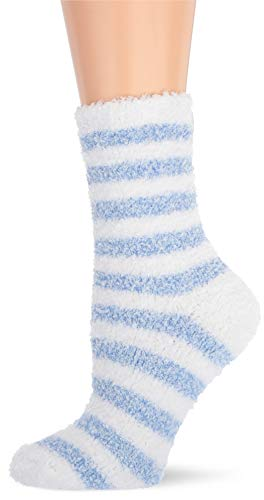 Karen Neuburger Women's Super Soft Cozy Fluffy Warm Lounge Chenille Sock, sky blue/white stripe, One size fits all