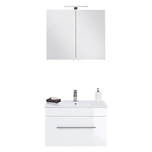 Lomadox Badezimmer Waschtisch und Spiegelschrank Set in Hochglanz weiß, 75cm Waschtischunterschrank mit Softclose-Auszug inkl. Keramik-Waschbecken