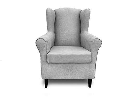 Sillón orejero, butaca tapizada Tela Antimanchas, sillón Lactancia, sillón Relax (Gris Claro)