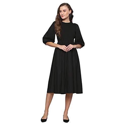 FEMELLA Women's Black Smocked Midi Dress(FF-1995A/BLK/XXL)