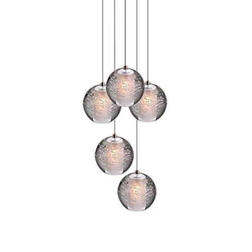 LED Cristallo Palla Lampada a sospensione per Soggiorno loft Scala Foyer Sala da pranzo Tavolo Bar Camera da letto Cromo Luce pendente Lampadario da soffitto Moderno Plafoniere, 5 luci
