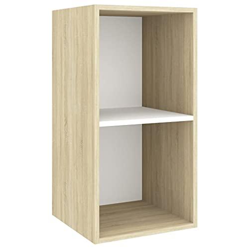 vidaXL Mueble de Pared para TV Soporte Armario Aparador Estante Salón Sala de Estar Mobiliario Decoración Aglomerado Blanco y Sonoma 37x37x72 cm