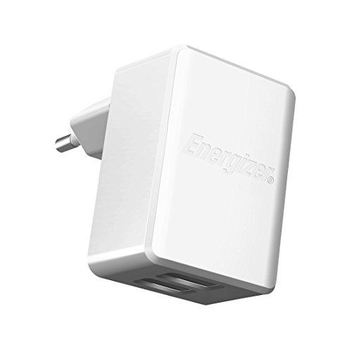 Energizer High Tech - Cargador de casa sin Cable (2 USB, 2.4A) Color Blanco