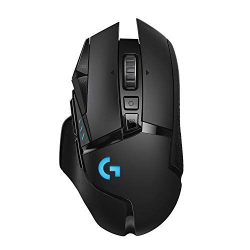 Logitech G502 LIGHTSPEED kabellose Gaming-Maus, HERO 16000 DPI Sensor, Wireless Verbindung, USB-Anschluss, RGB-Beleuchtung, Gewichtstuning, POWERPLAY-kompatibel, PC/Mac, Schwarz - EU Verpackung