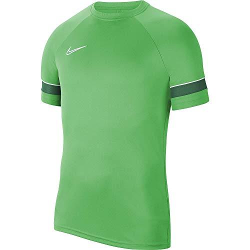 NIKE Camiseta de Entrenamiento Academy 21 para Hombre, Hombre, Camiseta, CW6101-362, Verde Brillante, Blanco, Verde Pino, Blanco, Small