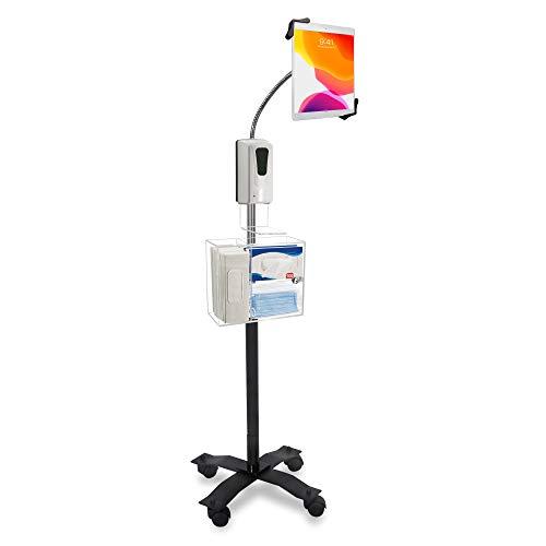 CTA Digitaler kompakter Schwanenhals-Bodenständer für 7-13 Zoll Tablets mit Desinfektions-Station und automatischem Seifenspender