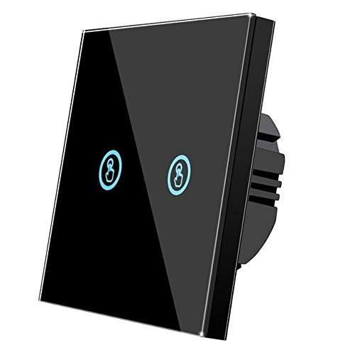 MING-MCZ Duradero Interruptor de Pared táctil Negro 2 Black 2 DIRIGIÓ Panel de Pantalla de Cristal de Cristal de la lámpara Fácil de Montar