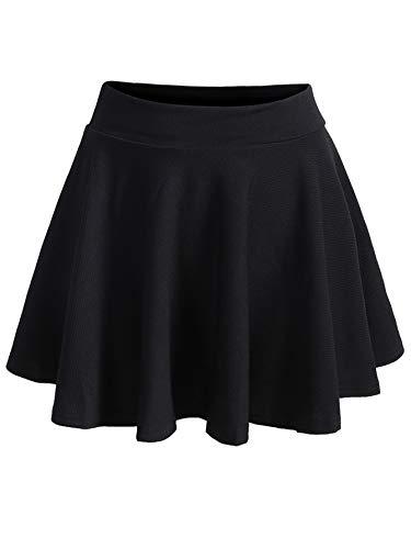 Romwe Women's Plus Size Elastic High Waist A-Line Flared Casual Mini Skater Skirt Black A 2XL