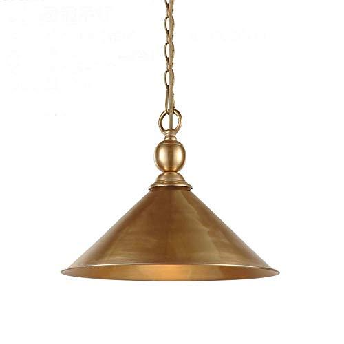 MJK Lámparas de techo Lámparas de techo, American Cobre Redonda Lámpara de araña Led Bar Restaurante Lámpara de cobre Lámpara de araña individual Dormitorio simple Estudio Altavoz Lámpara de araña We