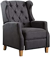 A to Z Furniture - Grantham Fabric Tufted Club Chair in Charcoal Grey Color