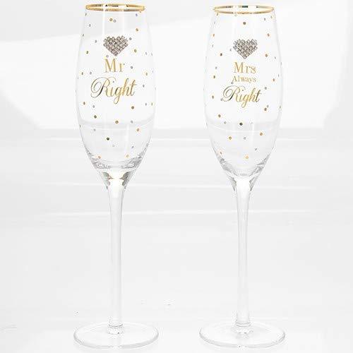 Mad Dots Mr Right & Mrs Always Right - Juego de 2 copas de champán con forma de corazón y lunares, color dorado