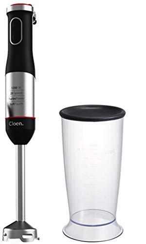CLOEN Batidora de Mano, Easy Hand Blender, 1200W de Potencia, 20 Velocidades, Función de Turbo, Mango Soft Touch, batidora y Pica Hielo. Incluye Vaso con Medidas para Mezclas, 800 ml