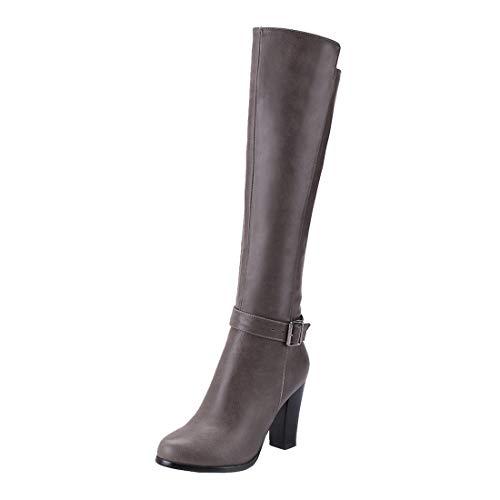LUXMAX Stivali Alti Donna sopra Il Ginocchio con Tacco Alto Blocco Cerniera Scarpe Atutunno Inverno (Grigio) - 37 EU