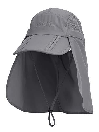 Unisexo Safari Cap con Protector de Cuello Anti UV Abatible Gorra de Béisbol para Acampar al Aire Libre