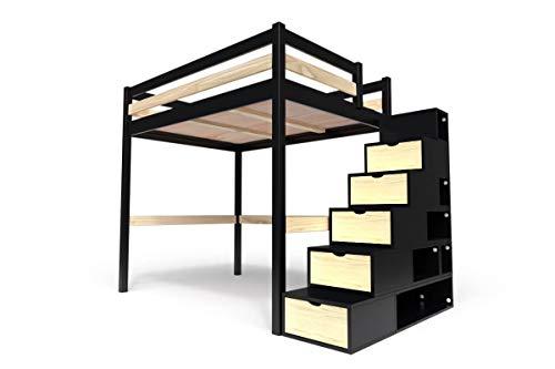 ABC MEUBLES - Lit Mezzanine Sylvia avec escalier Cube Bois - Cube - Noir/Vernis Naturel, 160x200