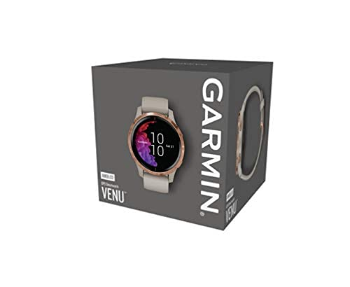 Garmin Venu, GPS Smartwatch with Bright Touchscreen Display, Features Music, Body Energy Monitoring, Animated Workouts, Pulse Ox Sensors and More, Light Sand with Rose Gold Hardware