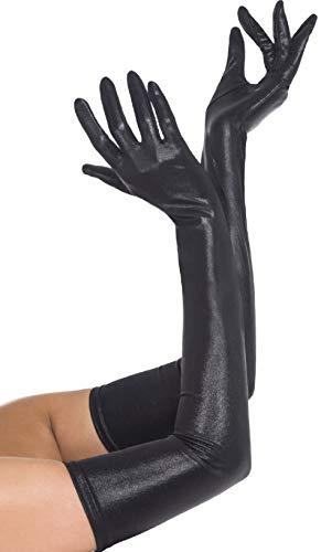 Femme Sexy Long Coude Longueur Noir Mouillé PVC Look Costume Déguisement Gants