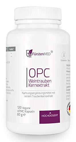 FürstenMED® OPC Kapseln - Rein pflanzlicher Traubenkernextrakt 1100mg - 120 Kapseln Hochdosiert - Premium Qualität aus Deutschland - Ohne Zusatzstoffe