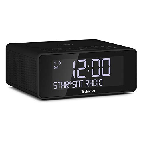 TechniSat DIGITRADIO 52 – Stereo DAB Radiowecker (Uhrenradio, Wecker, DAB+, UKW, Snooze-Funktion, Sleeptimer, dimmbares Display, Wireless-Charging Funktion, Stereo Lautsprecher 2 x 1 W) schwarz