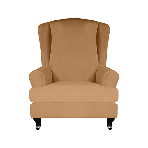 Renhe 2 Stücke Sesselüberwürfezug Ohrensesselbezug Stretch Husse Elastisch Ohrenbackensessel Sesselbezug Sofabezüge Weiche Möbel Protector Kamel