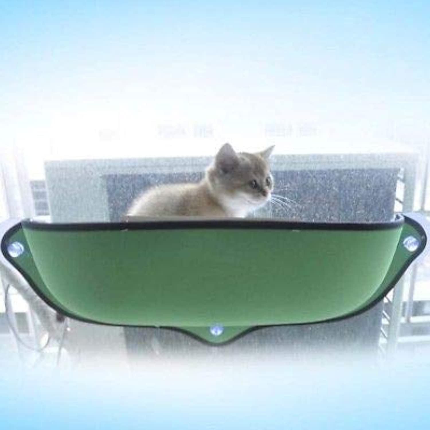 FidgetGear Cat Window Sunbathing Bed Hammock Lounger Sofa with Suction Cup for Home and car Green
