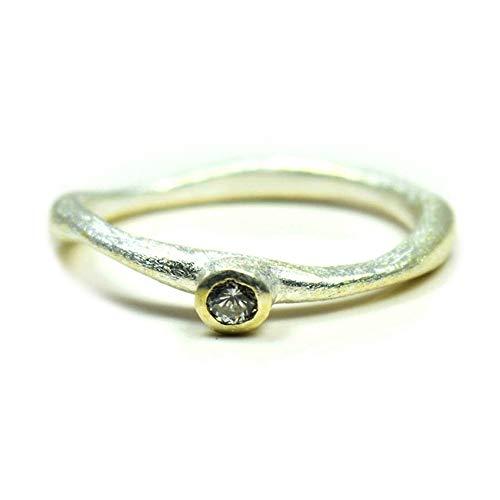CaratYogi White Cubic Zircon Ring Round Gemstone Silver Handmade Bezel Jewelry Sizes J K L M N O P