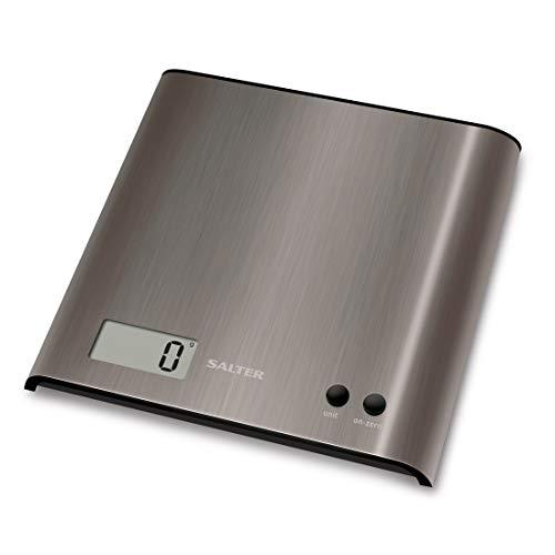 Salter 1087 SSDR Báscula de cocina digital, línea Steel y aquatronic, 3 Kg, Negro, Acero Inoxidable
