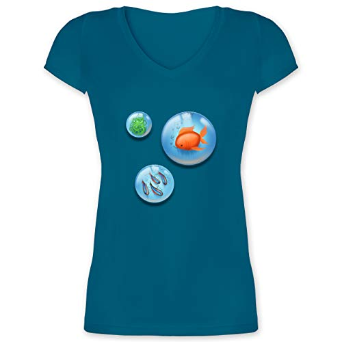 Sonstige Tiere - Aquarium Bubbles Fische - XS - Türkis - Hobby - XO1525 - Damen T-Shirt mit V-Ausschnitt