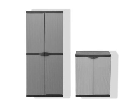 Set: Hoher + Mittlerer Kunststoffschrank mit spritzwassergeschützter Deckel- & Bodenplatte sowie verschiedenen Einlegeböden - extra stabil, leichter Aufbau, optimal für Innen & Außen
