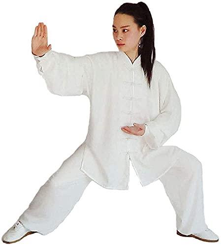 DIVAND Damen Herren Chinesische Tai Chi Kleidung Kampfkunst Trainingsanzug Langarm Atmungsaktive Baumwolle Kung Fu Uniform Qigong Wing Chun Shaolin Wushu Jacke Hose Anzug,Weiß,L