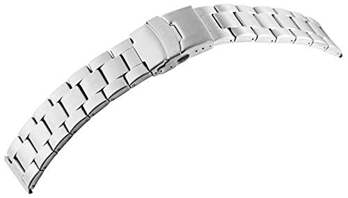 LEONARDO VERRELLI-Uhrenarmband Ersatz Edelstahl Faltschließe Breite 18-24 mm (Stegbreite: 18 mm, silberfarbig)