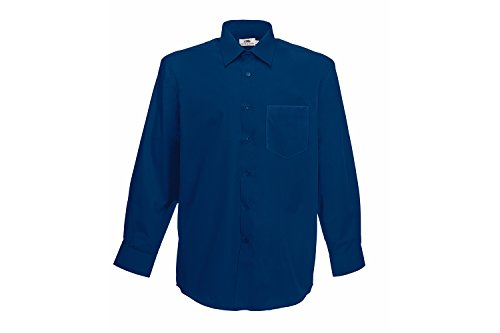 Fruit of the Loom Herren Long Sleeve Poplin Shirt Freizeithemd, Blau (Blue Navy 32), Medium