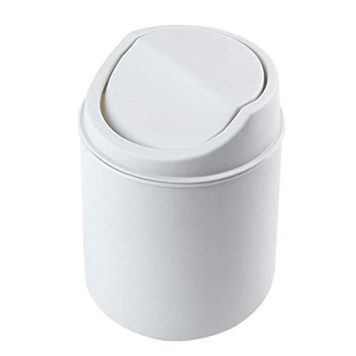 KIWEE Mini cubo de basura con tapa basculante, cubierta extraíble, para mesa y papelera para el hogar