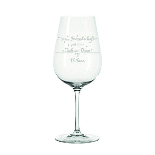 Crealuxe Leonardo Wijnglas ware vriendschap met gravure naar wens - cadeau, verjaardag, Kerstmis,