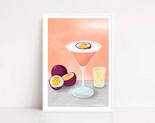 Pornstar Martini, Cocktail Print, Pornstar Martini Art Print, Martini, Martini Print, Kitchen Wall Art, Passionfruit Martini, Bar Print Poster No Frame Board For Office Decor, Best Gift For Family And