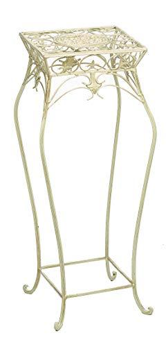 aubaho Flor Flores heces de pie Puesto de Flores jardín de Hierro Blanco cremoso