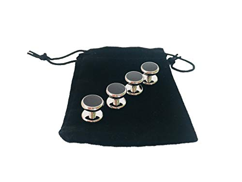 Smokingknöpfe Frack Smoking Emaille versilbert Ball schwarz silber Hemdknöpfe Frackknöpfe Hochzeit