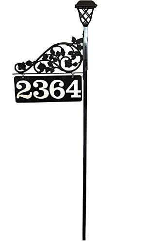 Reflective Driveway Address Marker Sign - BIG Numbers Double Sided Solar Light 911 Highly Visible
