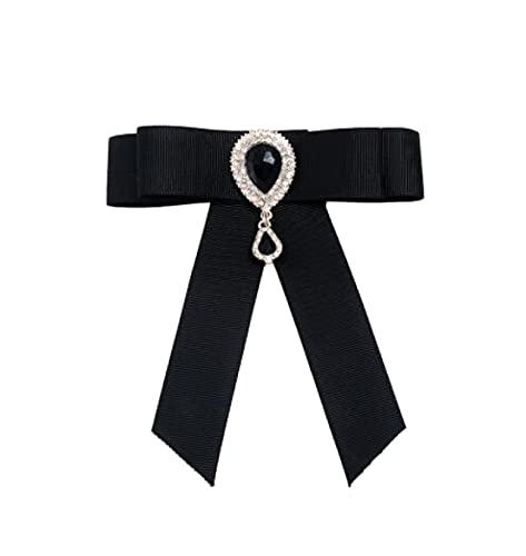 MENGHUA Vintage Sapphire Bow Brooch Blouse Accesorios Bow Tie Brooch Brooch 02 Black 10394