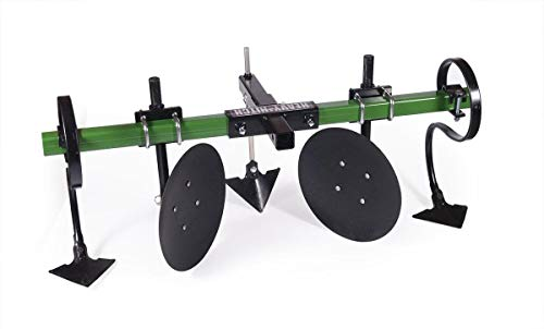 Heavy Hitch Multi-Purpose Disc Cultivator Garden Bedder Attachment with S-Tines and Row Maker Insert Powdercoated in John Deere Green | USA Made for Small Tractor Applications