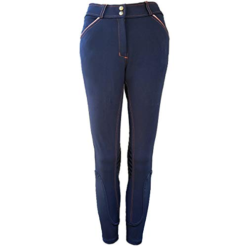 One Stop Equine Shop Women's Micah Breeches, Silicone Gel Knee Patch, Horse Riding Jeans, Navy 26