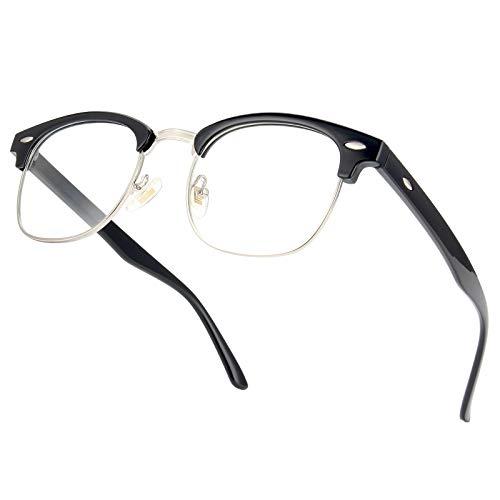 Amazon Brand –Eono Blaulichtfilter Brille anti Blaulicht von Computer Gaming PC-Nerd Brille ohne Stärke-Fake Brille für Damen Herren-UV Brillen gegen den von Asthenopie auslösenden Kopfschmerz