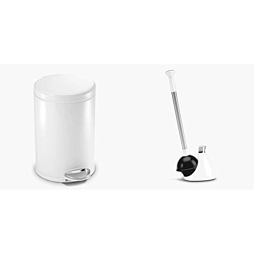 simplehuman 4.5 Liter / 1.2 Gallon Round Bathroom Step Trash Can, White Steel & Toilet Plunger and Caddy, Stainless Steel, White