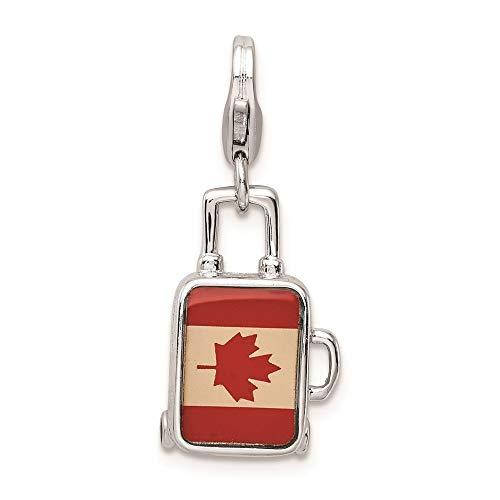 Sterling Silver placcato al rodio smaltato bandiera canadese valigia chiusura a moschettone ciondolo
